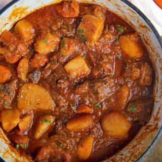 Hungarian Beef Goulash in pot