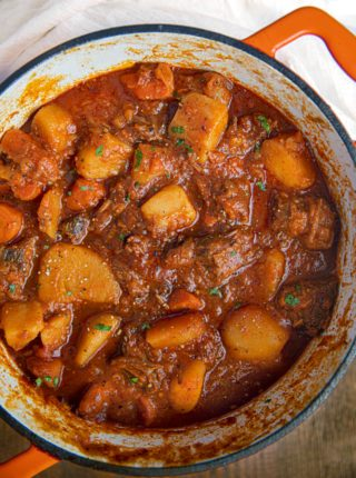 Hungarian Beef Goulash in pot