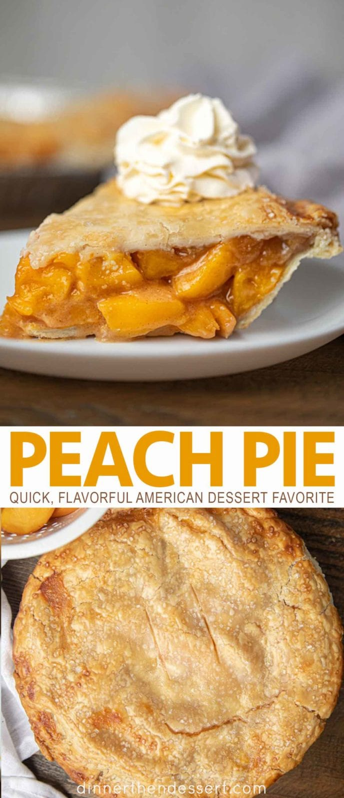 Peach pie with whipped cream