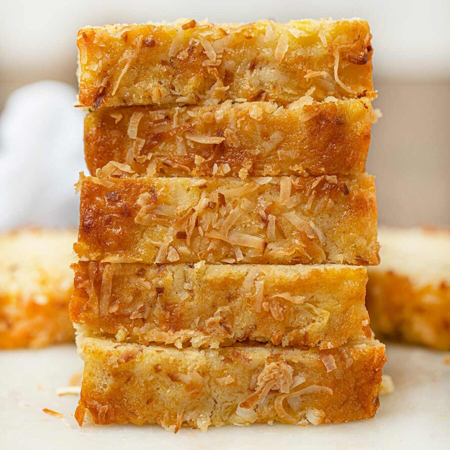 Pineapple Coconut Bread slices stacked