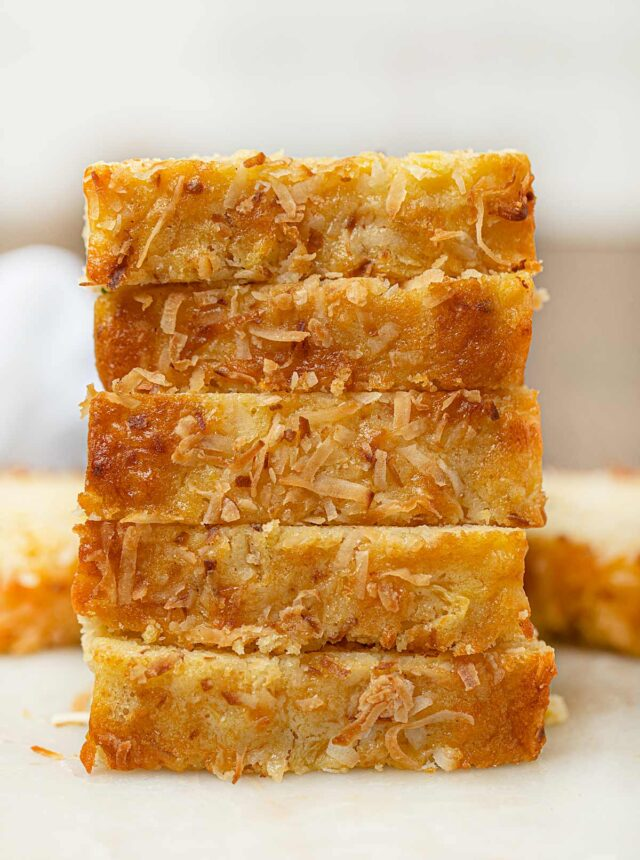 Pineapple Coconut Bread stacked on cutting board