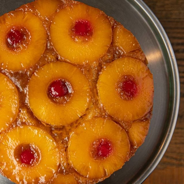 Top down view of pineapple upside down cake