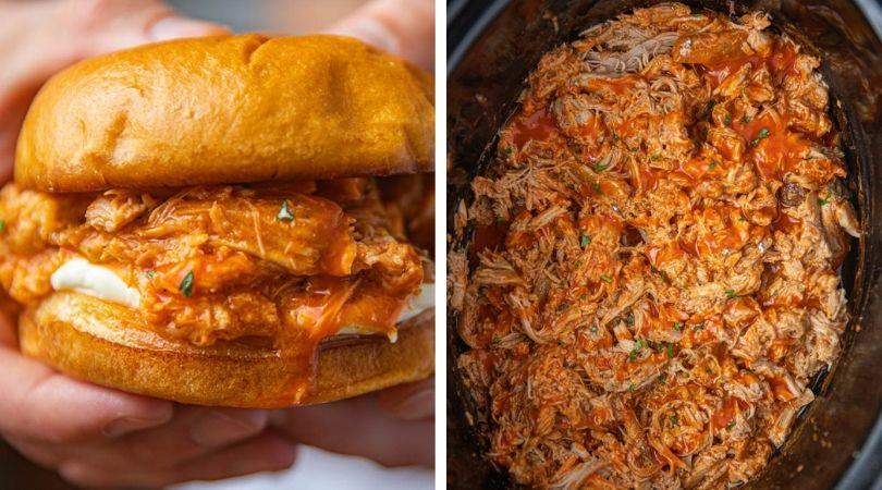 Slow Cooker Buffalo Chicken Sandwiches - Dinner, then Dessert