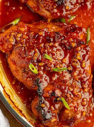 Garlic Chicken in skillet with sauce