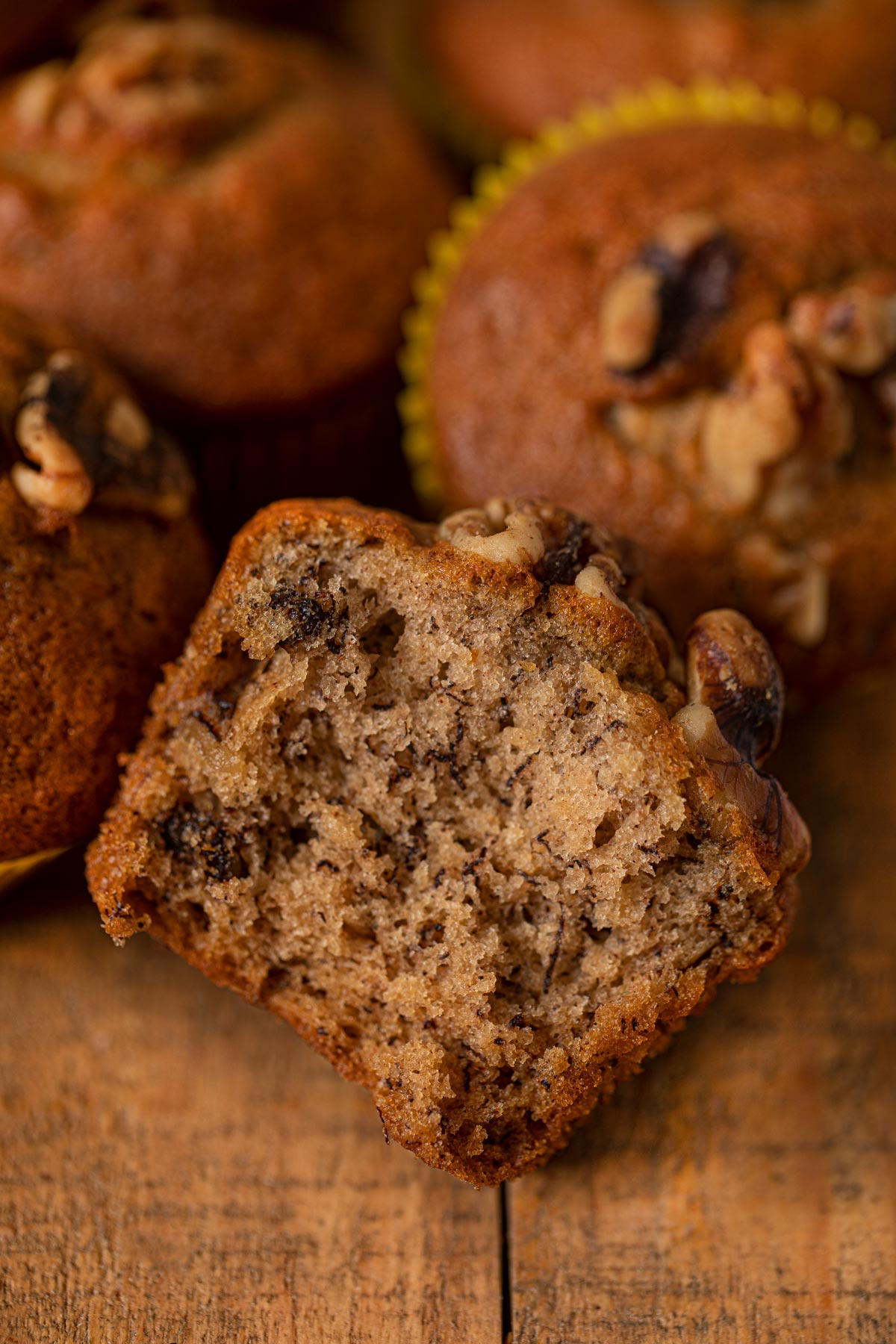 Banana Bread Muffin with walnuts in half
