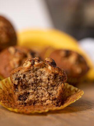 Banana Bread Muffin on wood tray with bananas