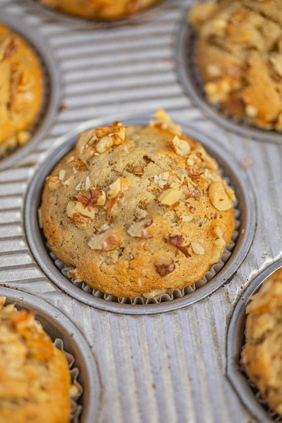 Banana Bread Muffin in muffin tin