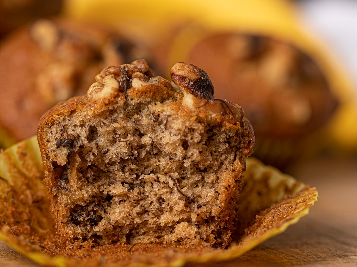 Banana Bread in muffin form with walnuts on top