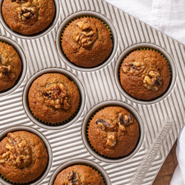 Banana Bread Muffins in muffin tin