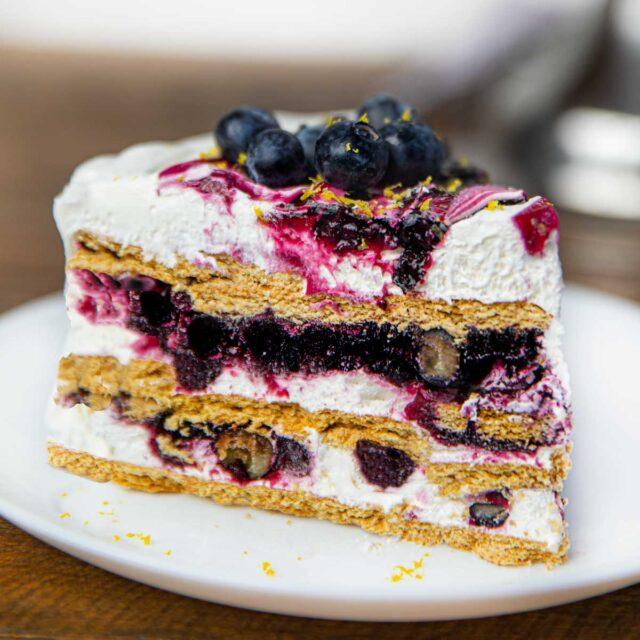 Blueberry Lemon Icebox Cake slice on plate