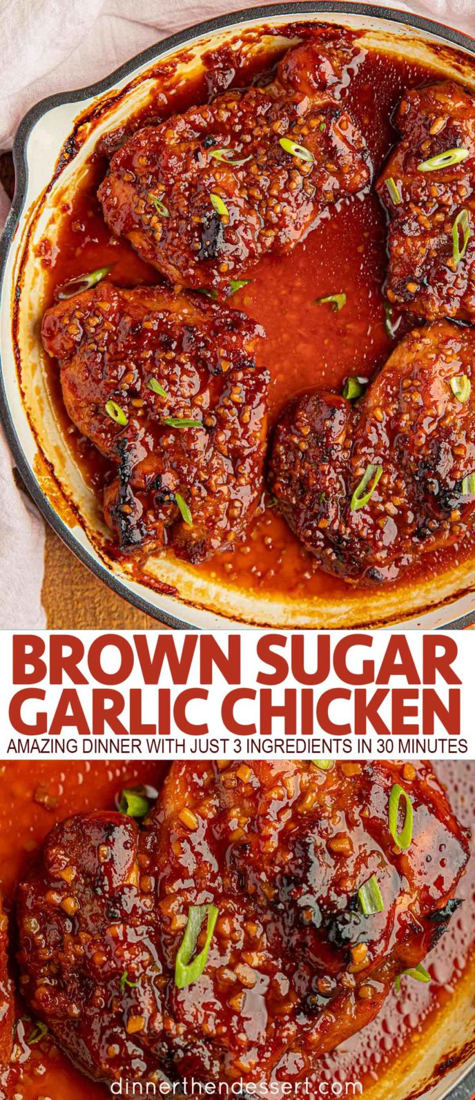 Brown Sugar Garlic Chicken in a pan