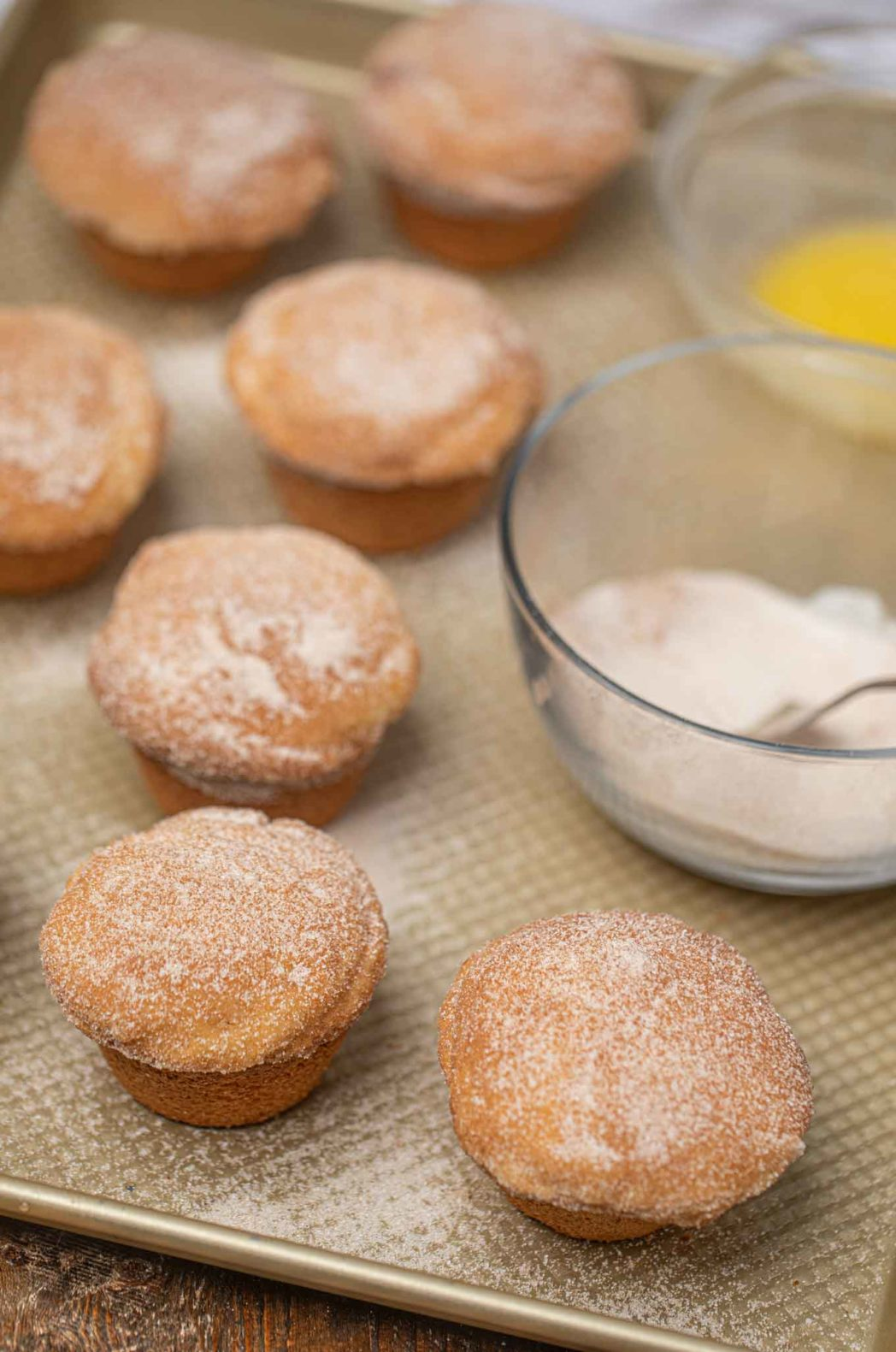 Cinnamon Sugar Donut Muffins with cinnamon sugar topping