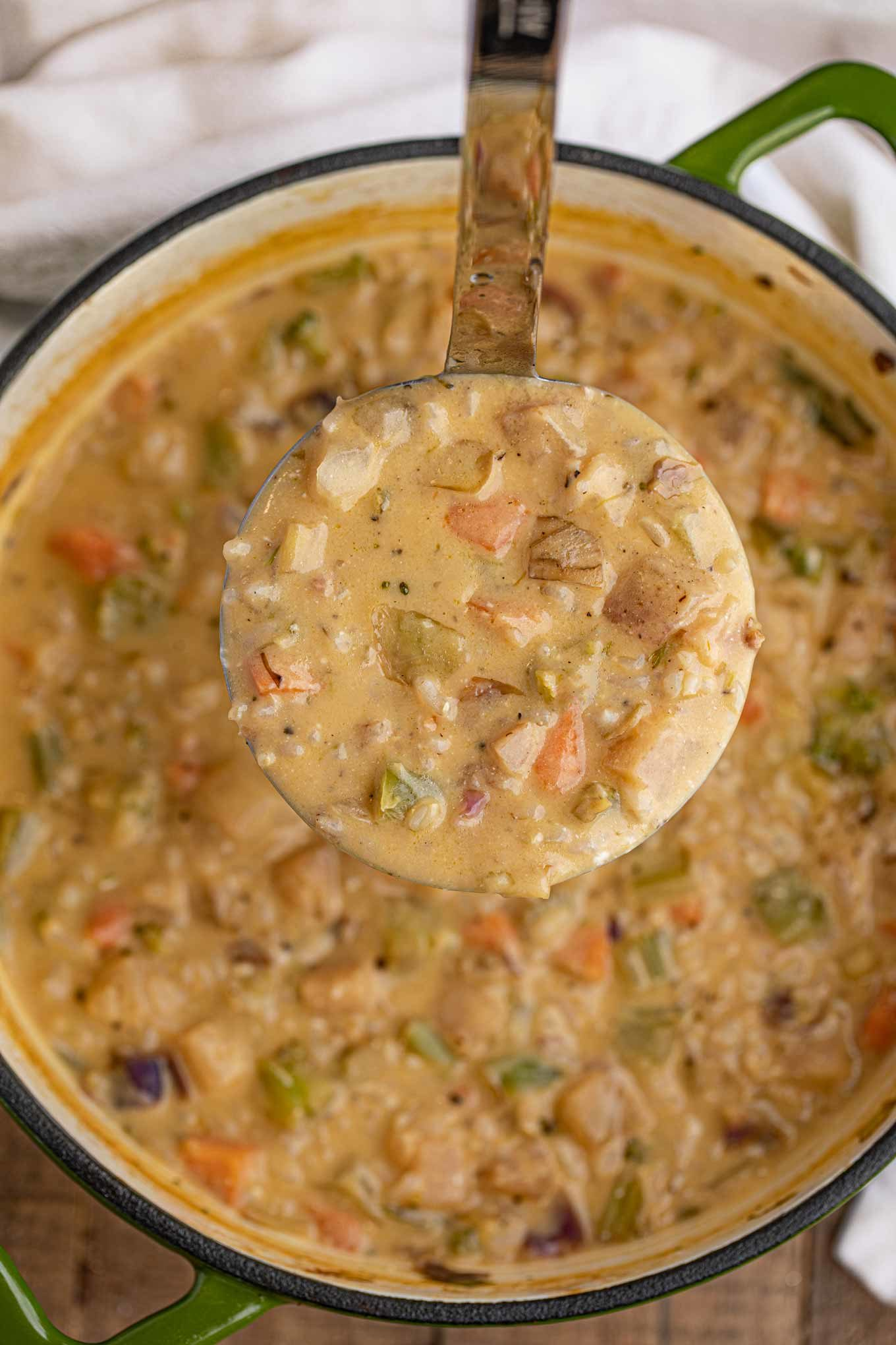 Creamy Vegetable and Rice Soup in a ladle