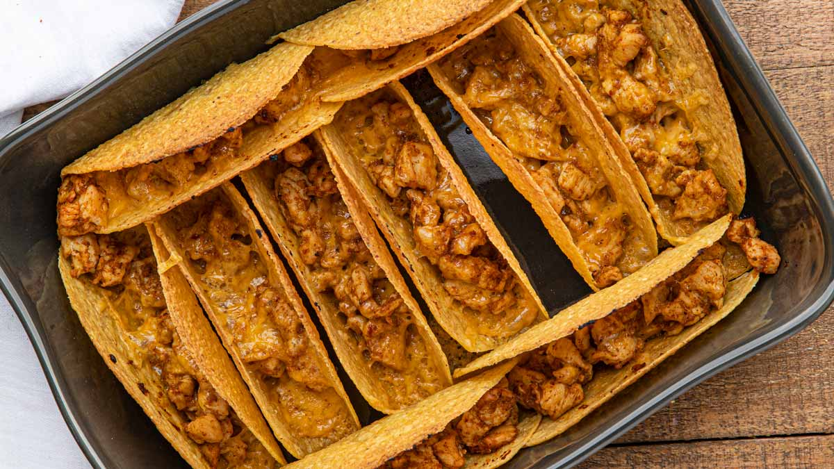 Pan of Chicken Baked Tacos