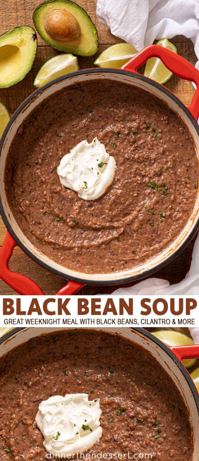Black bean soup with avocado