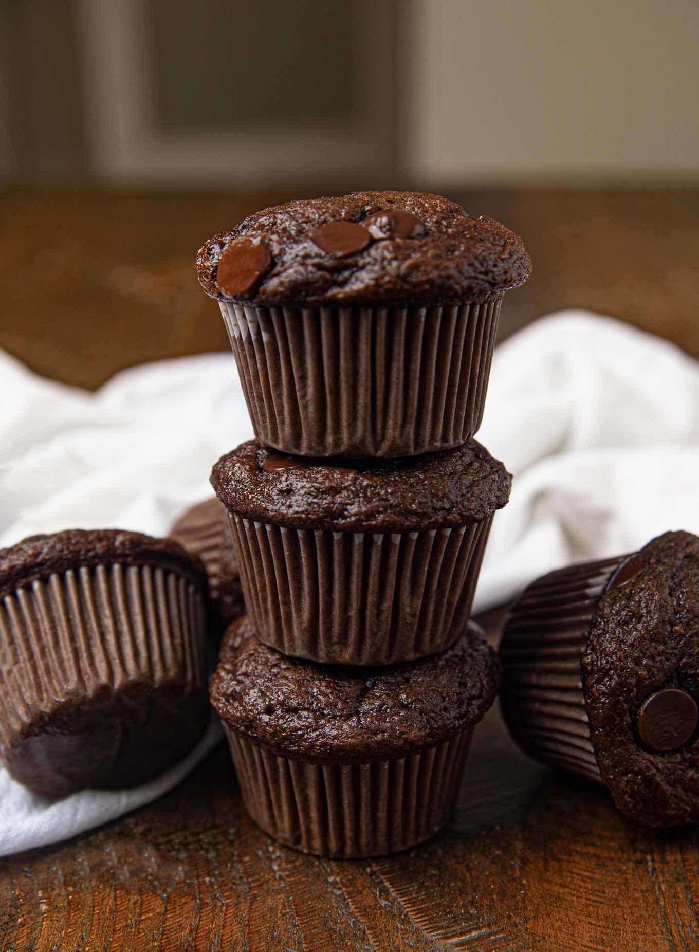 Stack of Chocolate Banana Muffins