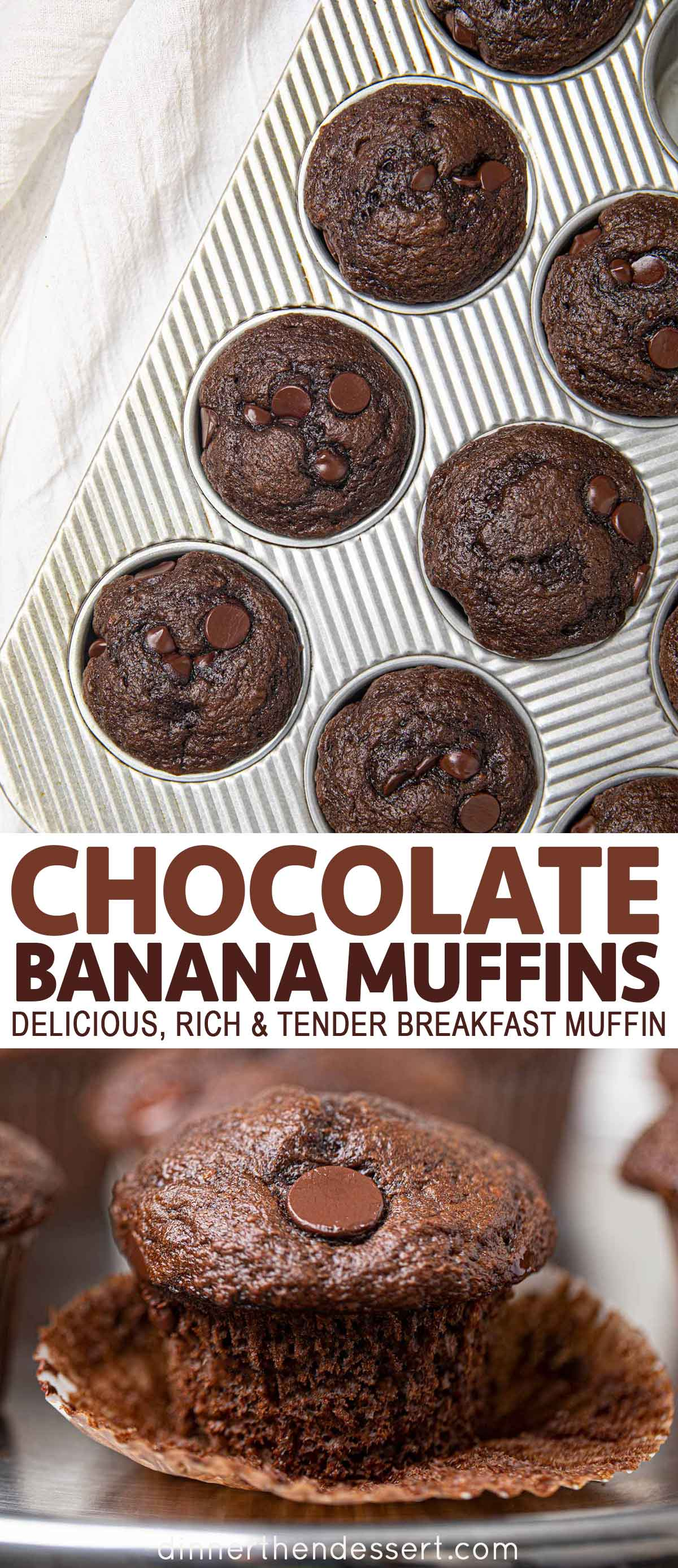 Chocolate Banana Muffins in tin and in wrapper
