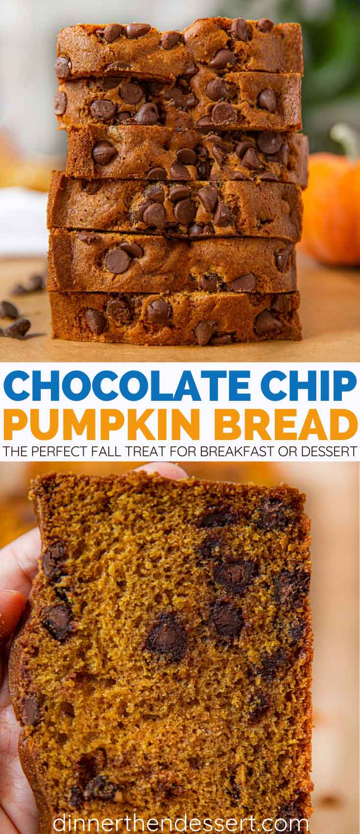 Pumpkin Chocolate Chip Bread Collage