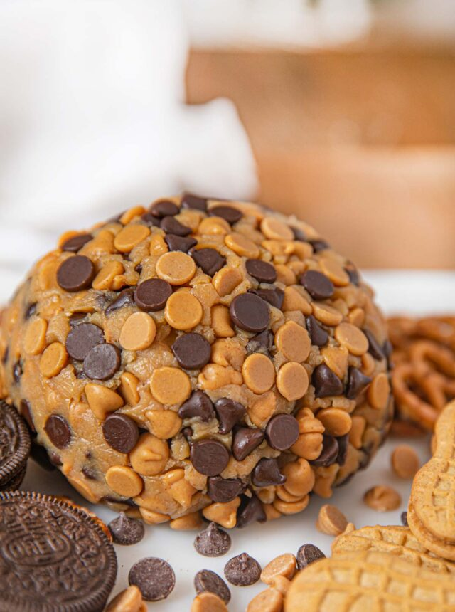 Chocolate Peanut Butter Cheese Ball Dessert on board with crackers and cookies