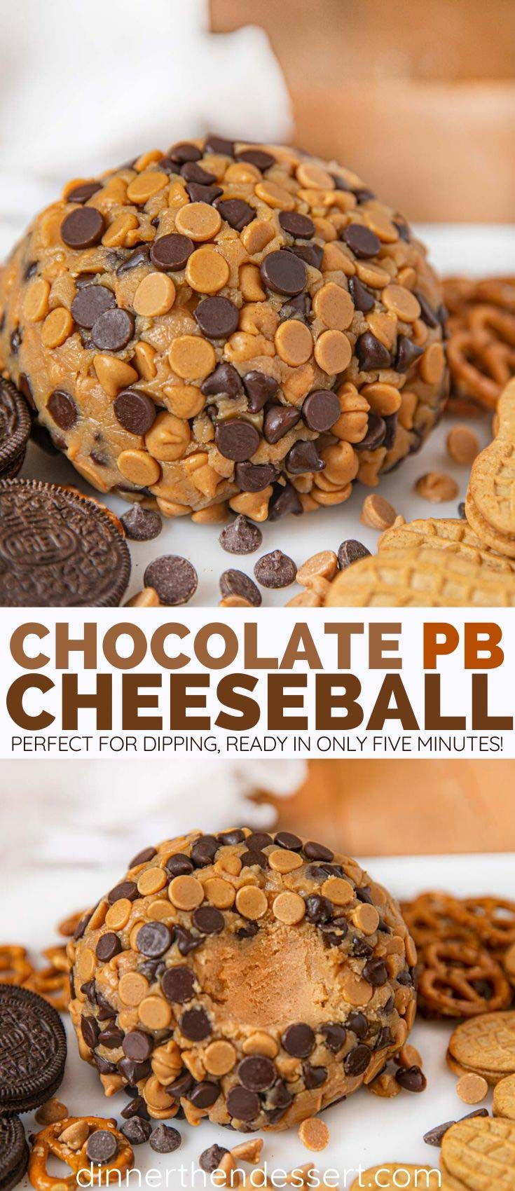 Collage of Peanut Butter Cheeseball with Chocolate Chips
