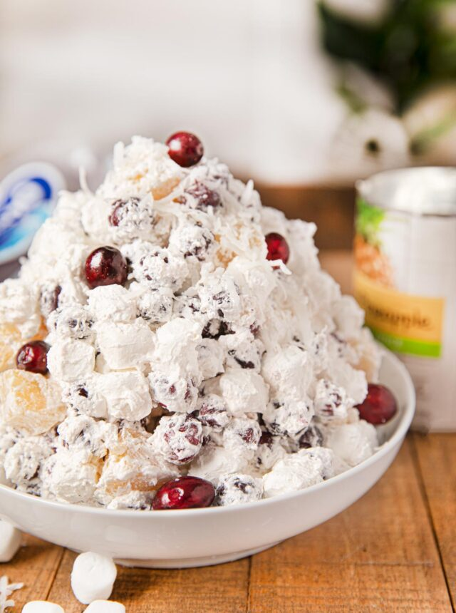 Cranberry Ambrosia Salad in white bowl