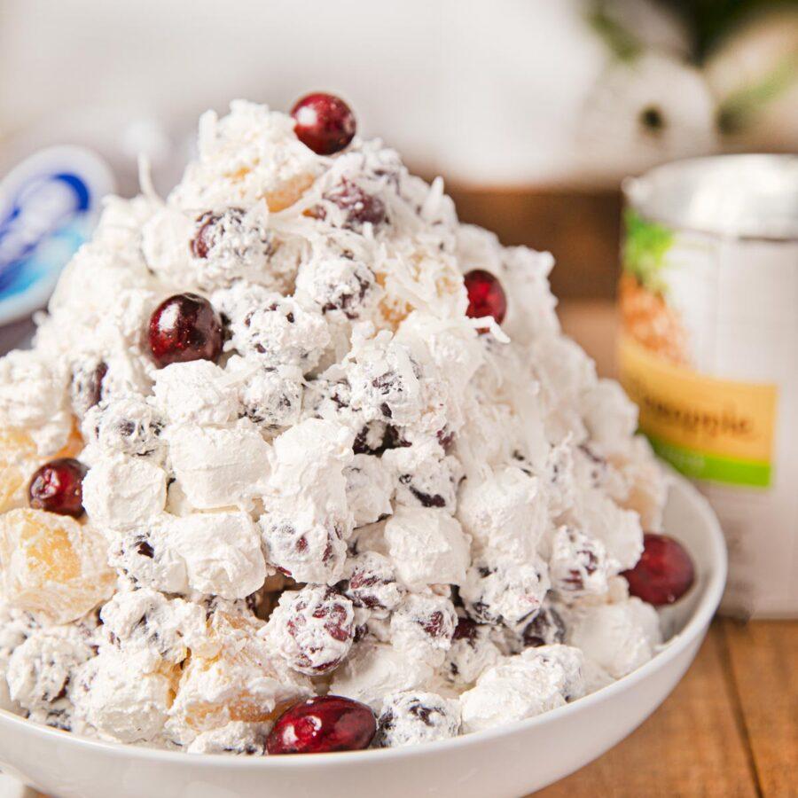 Cranberry Ambrosia Salad in white bowl