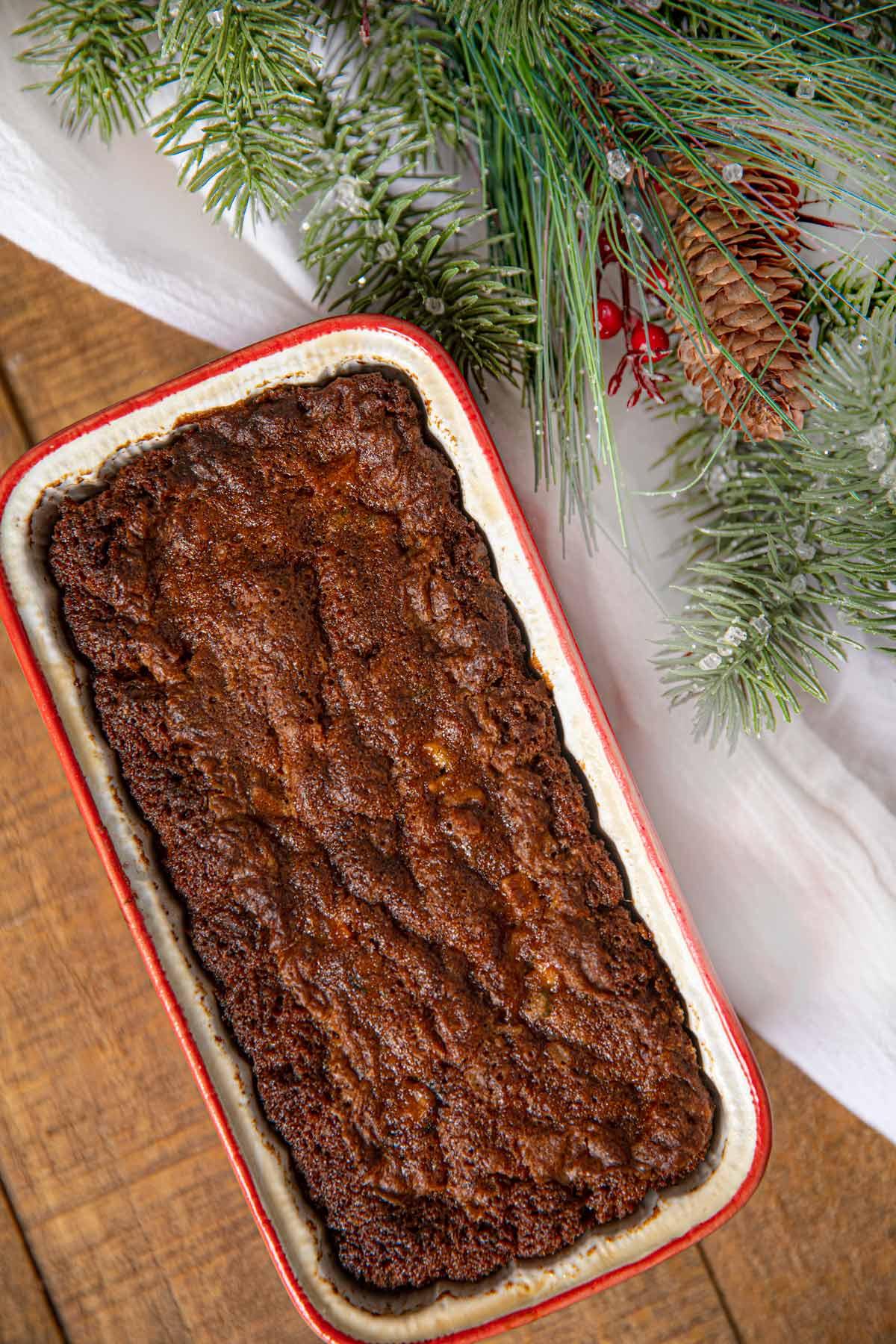 Fruit Cake in red loaf pan