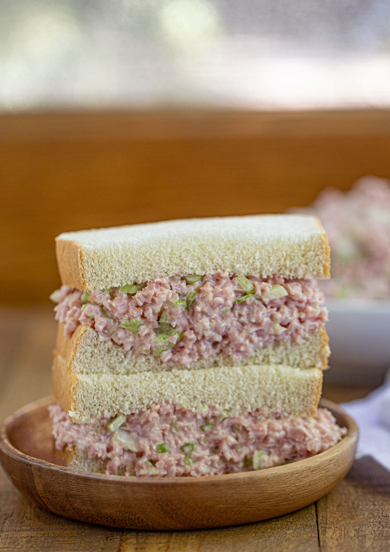 Ham Salad Sandwich with Texas Toast Bread on wooden plate