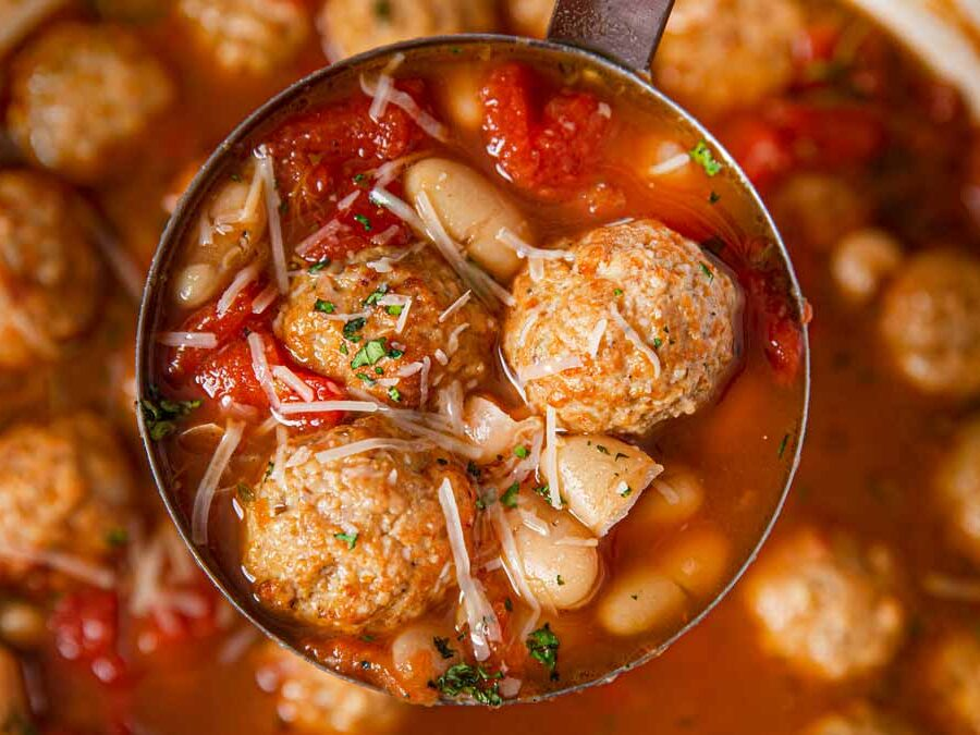 Italian Meatball Soup with ladle full