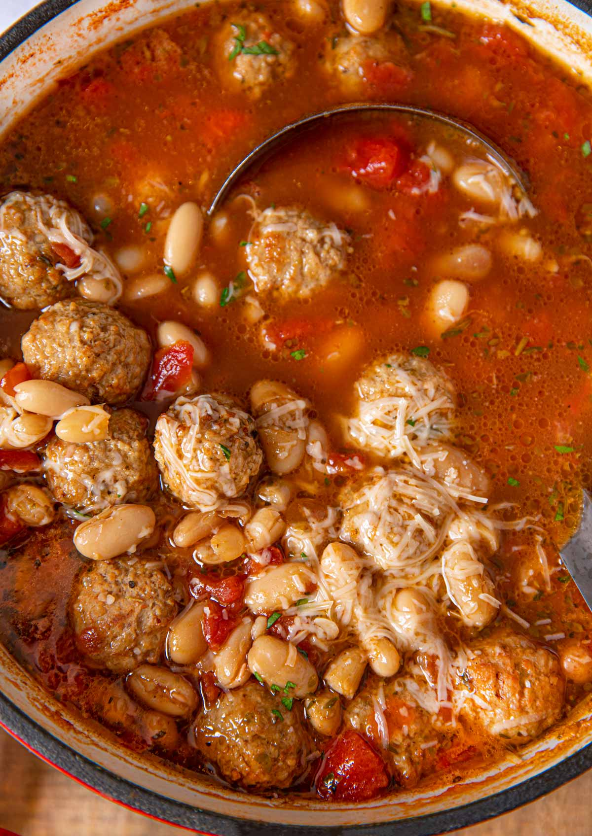 Italian Meatball Soup with ladle