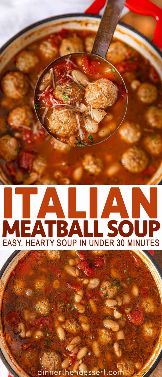 Collage photos of Italian Meatball Soup