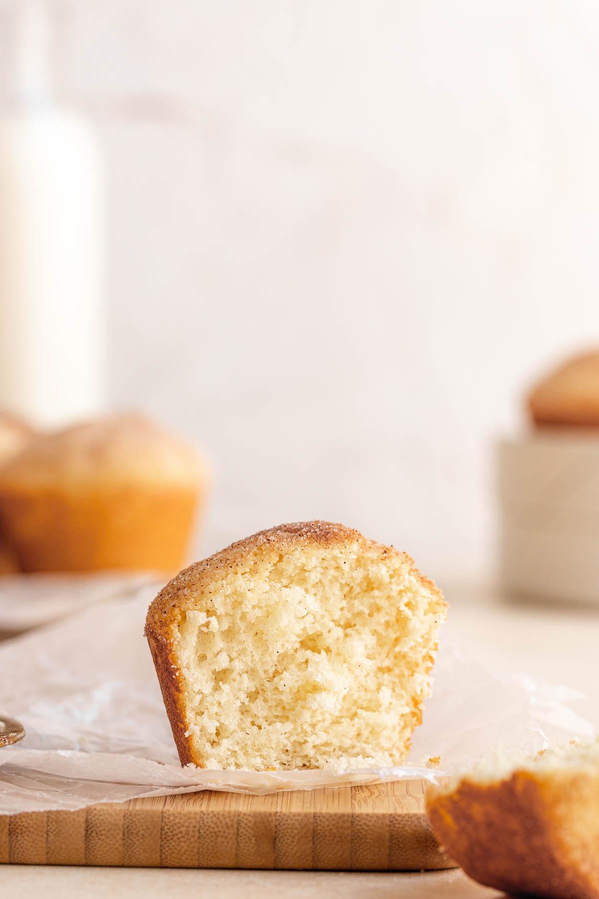 Close up of Mini Doughnut Muffin sliced in half