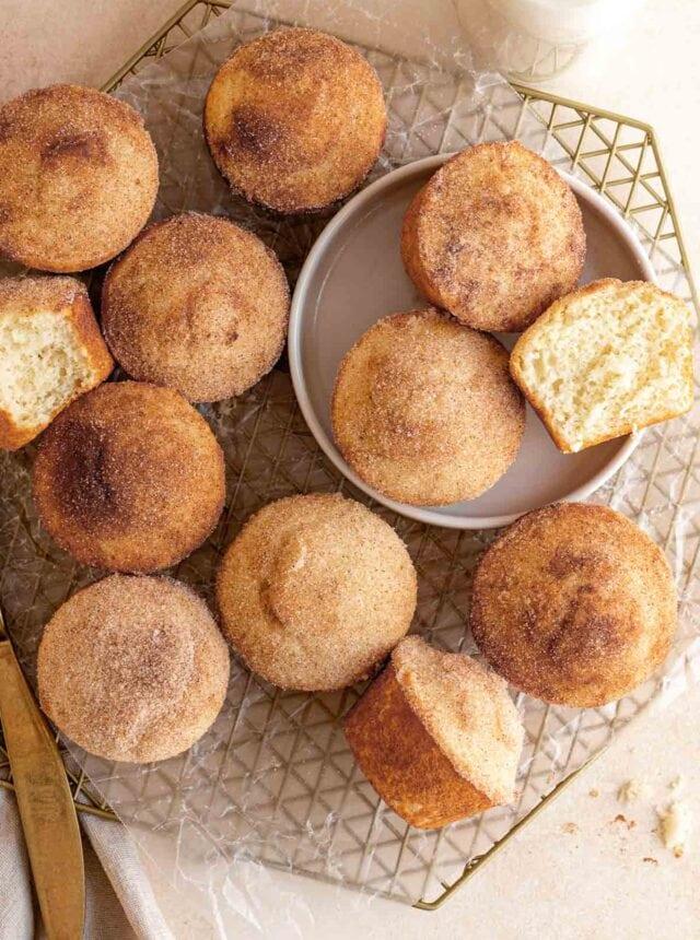 Close up of Mini Doughnut Muffins in serving tray
