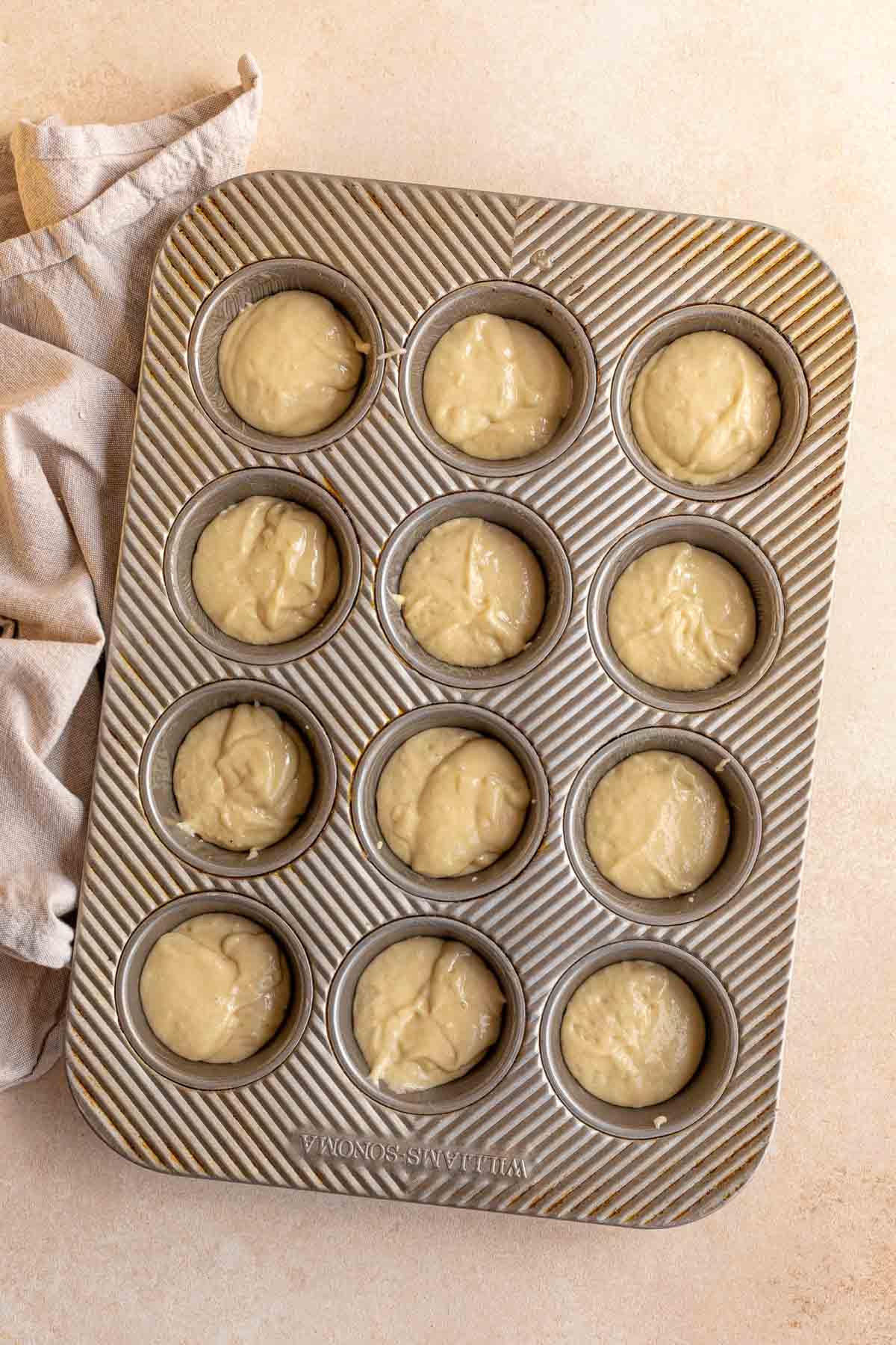 Mini Doughnut Muffins batter in mini muffin tin