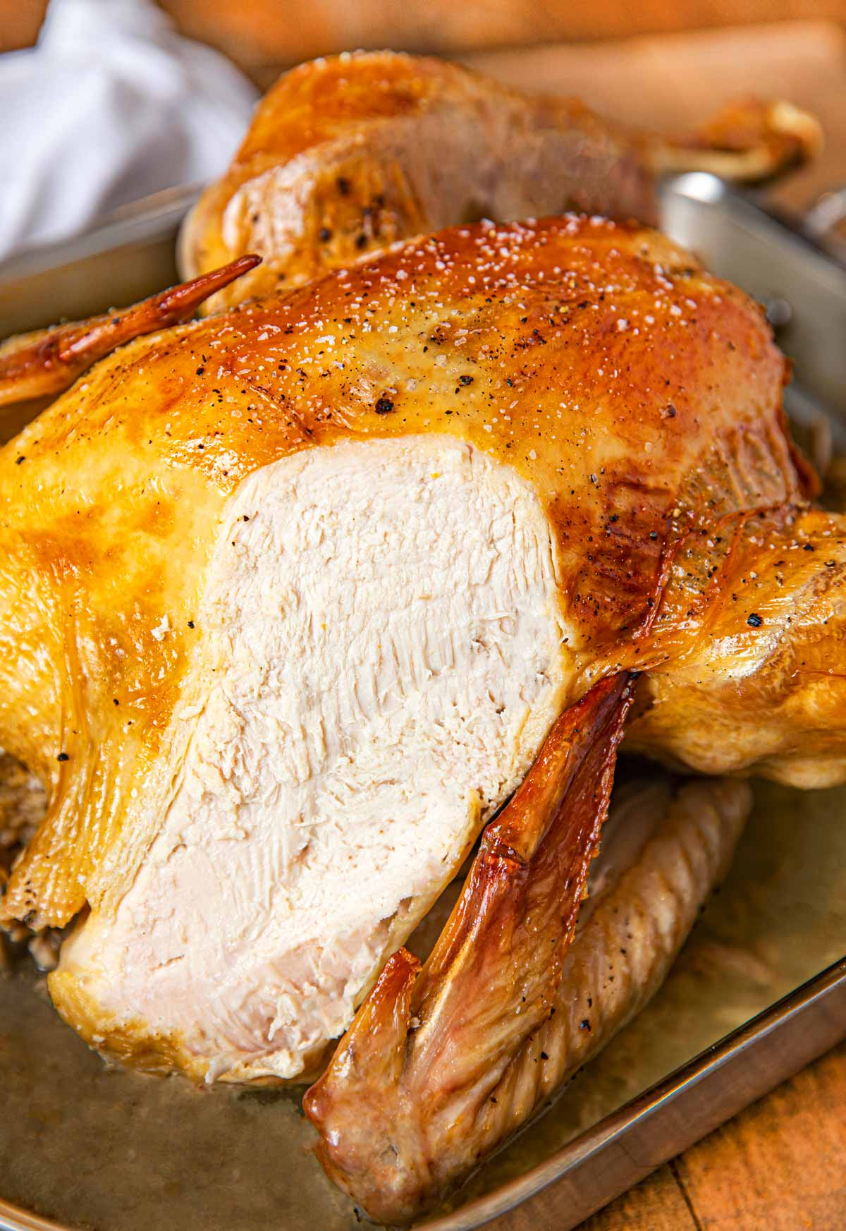 Roast Turkey with no basting needed in metal pan