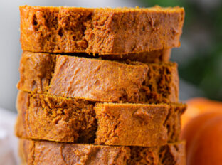 Stacked pumpkin bread slices