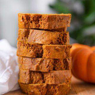 Pumpkin Bread slices in a stack