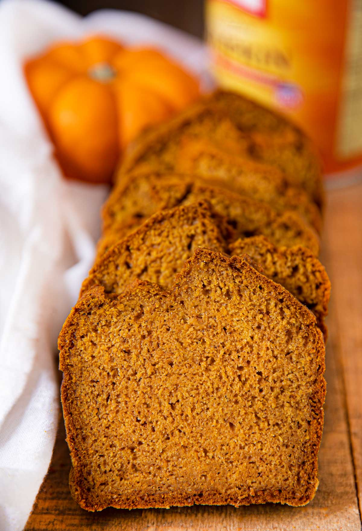 Pumpkin Bread Loaf Recipe cut into slices on board