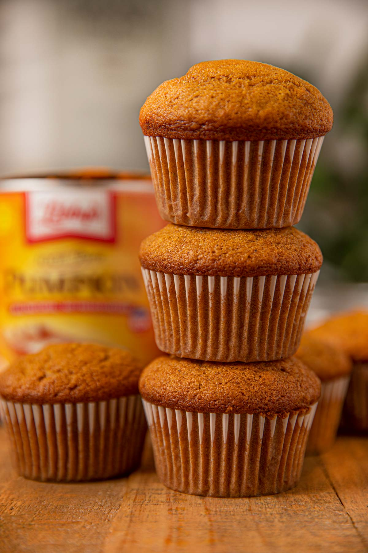 Stack of pumpkin muffins