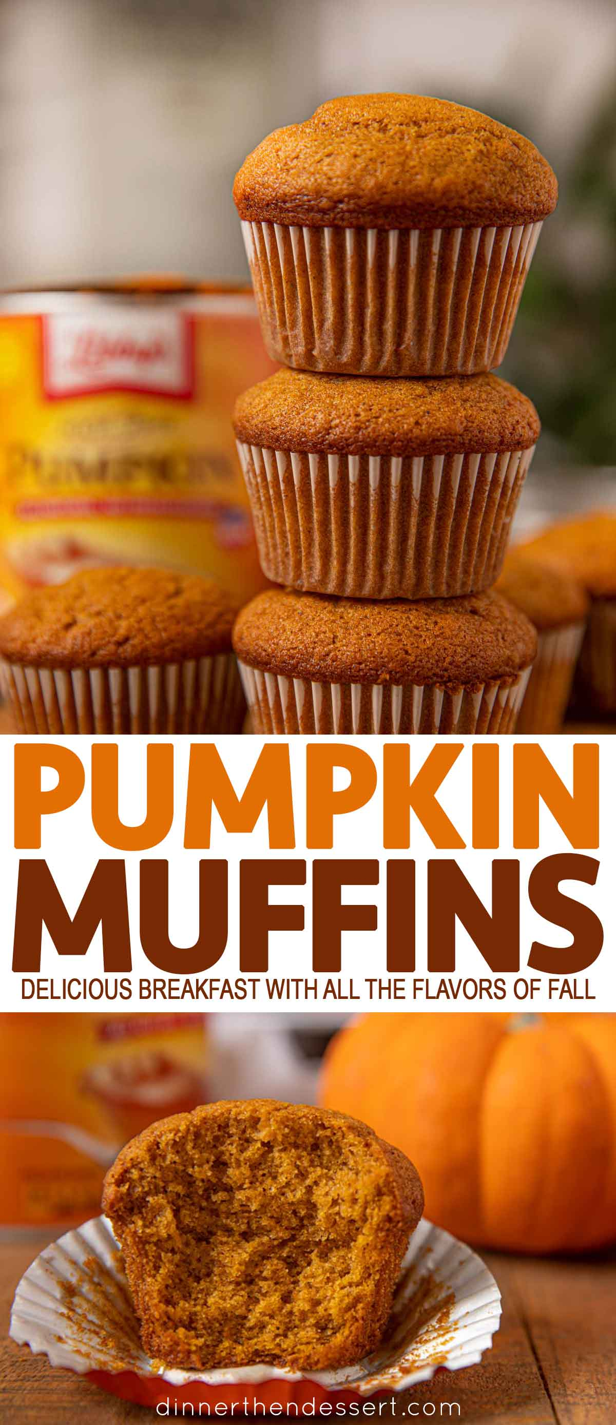 Collage of photos of pumpkin muffins