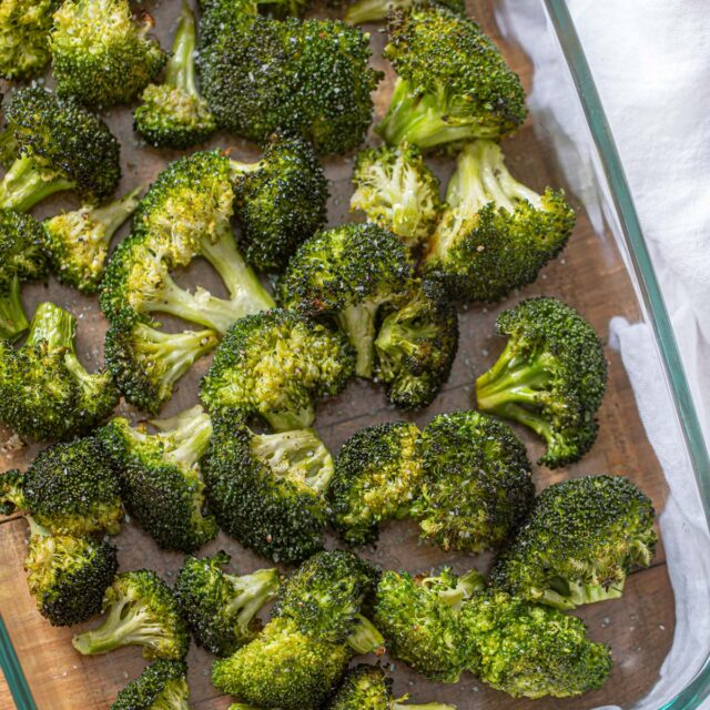 Roasted Broccoli Recipe in glass dish