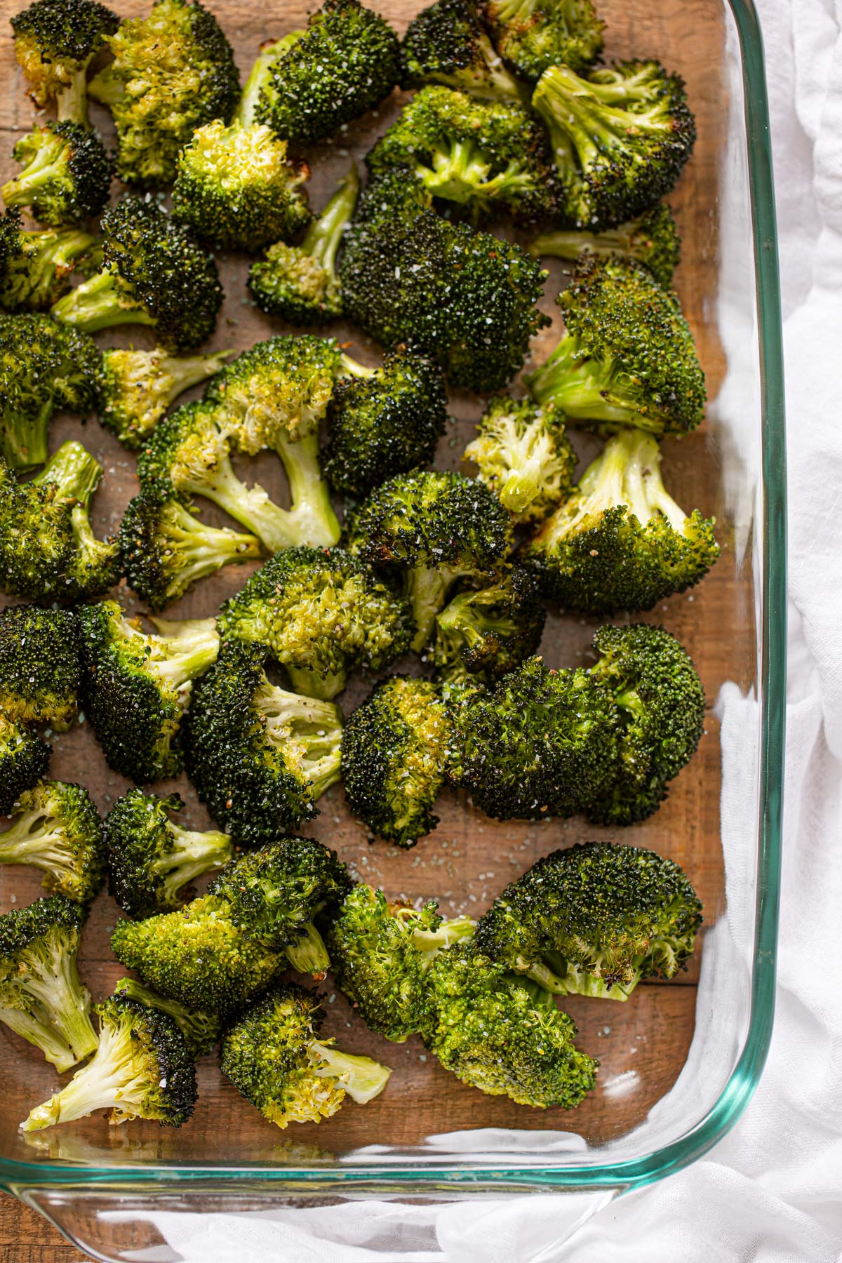Roasted Broccoli in glass baking dish
