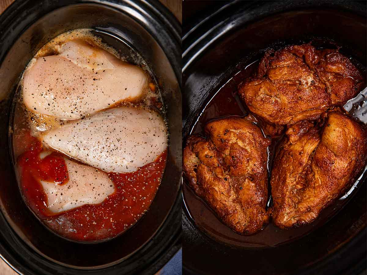 Slow Cooker Root Beer Chicken before and after