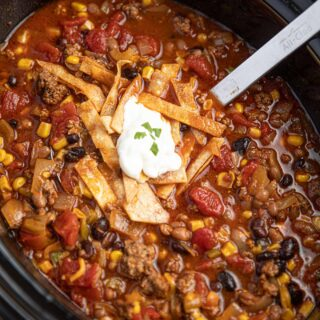 Beef Taco Soup in Slow Cooker