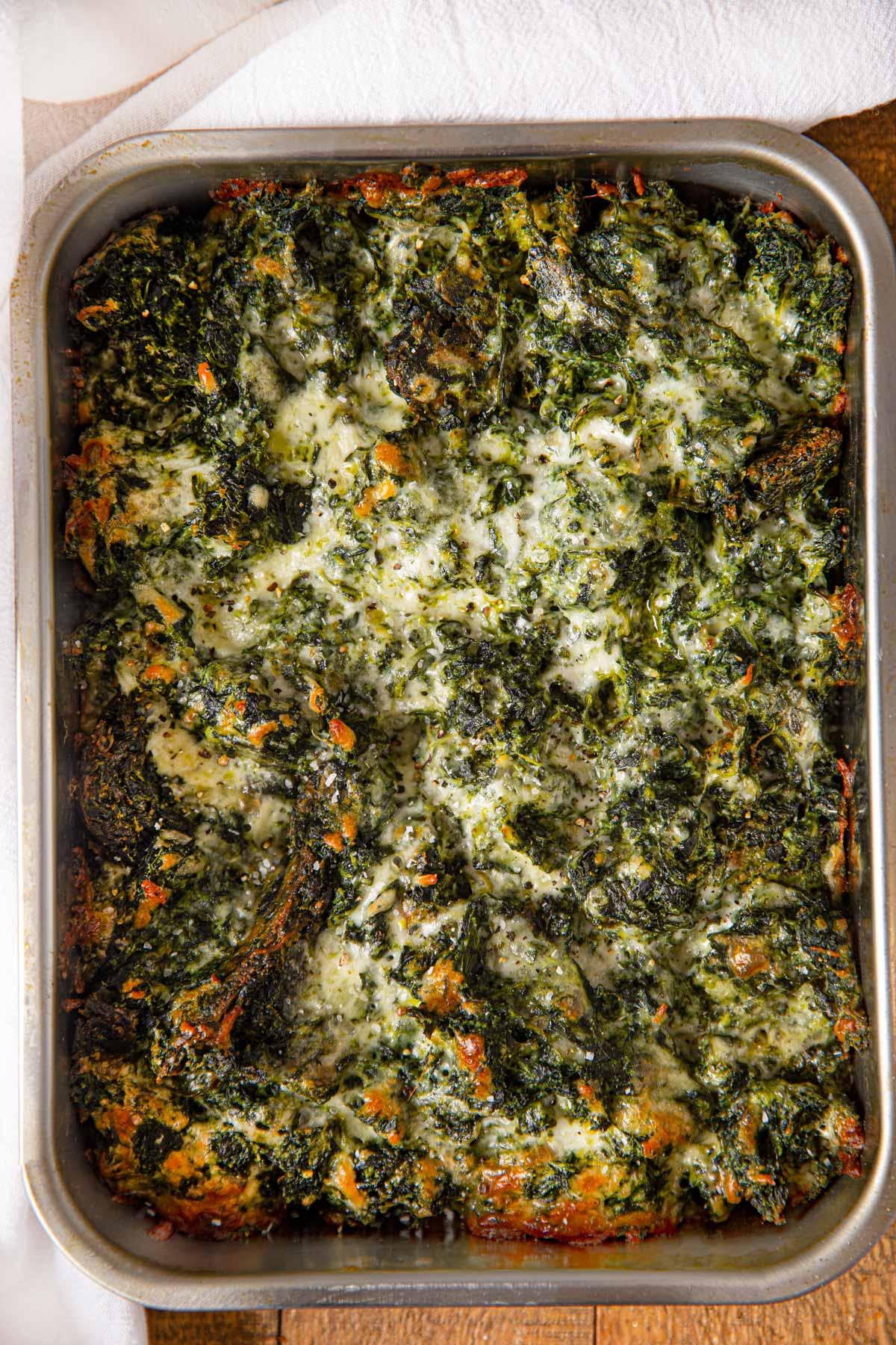 metal baking pan of Spinach Gratin