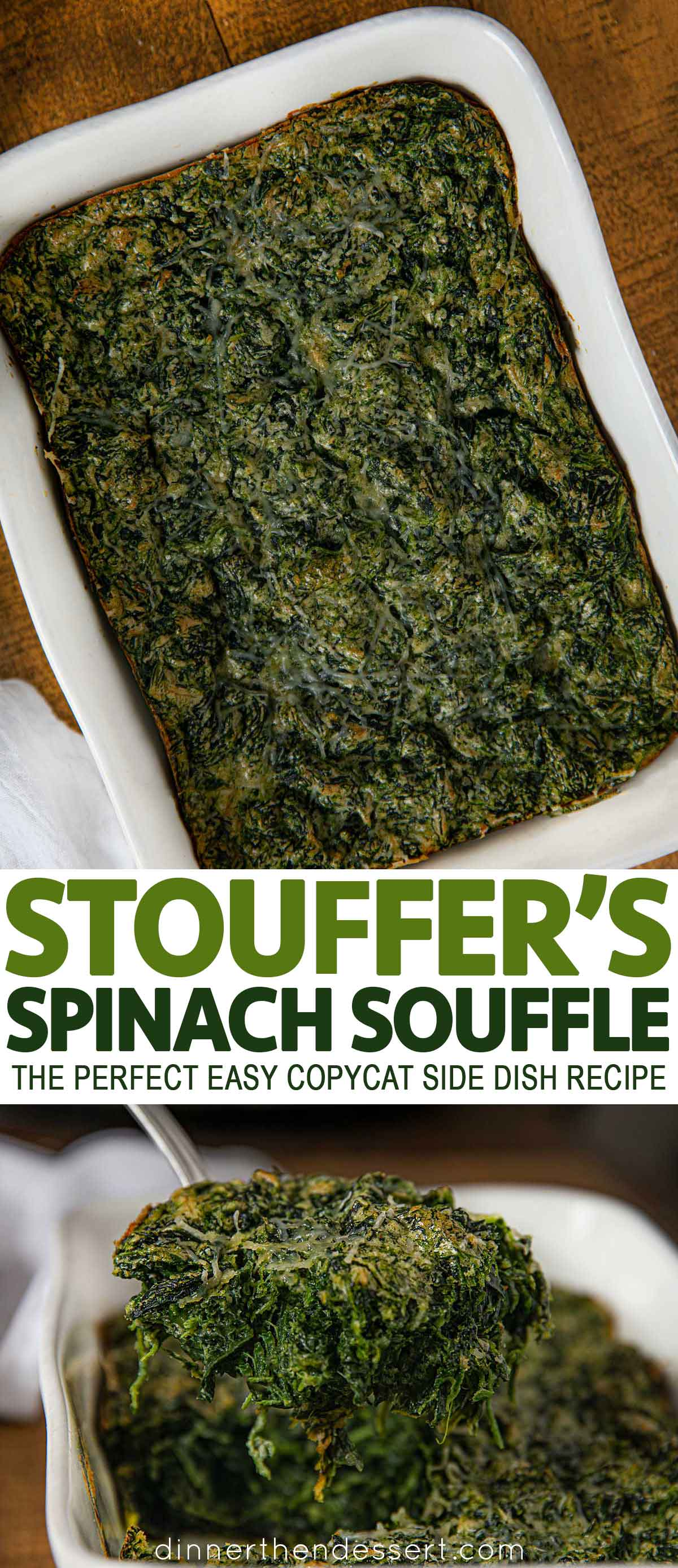 Collage of photos of Spinach Souffle from Stouffers