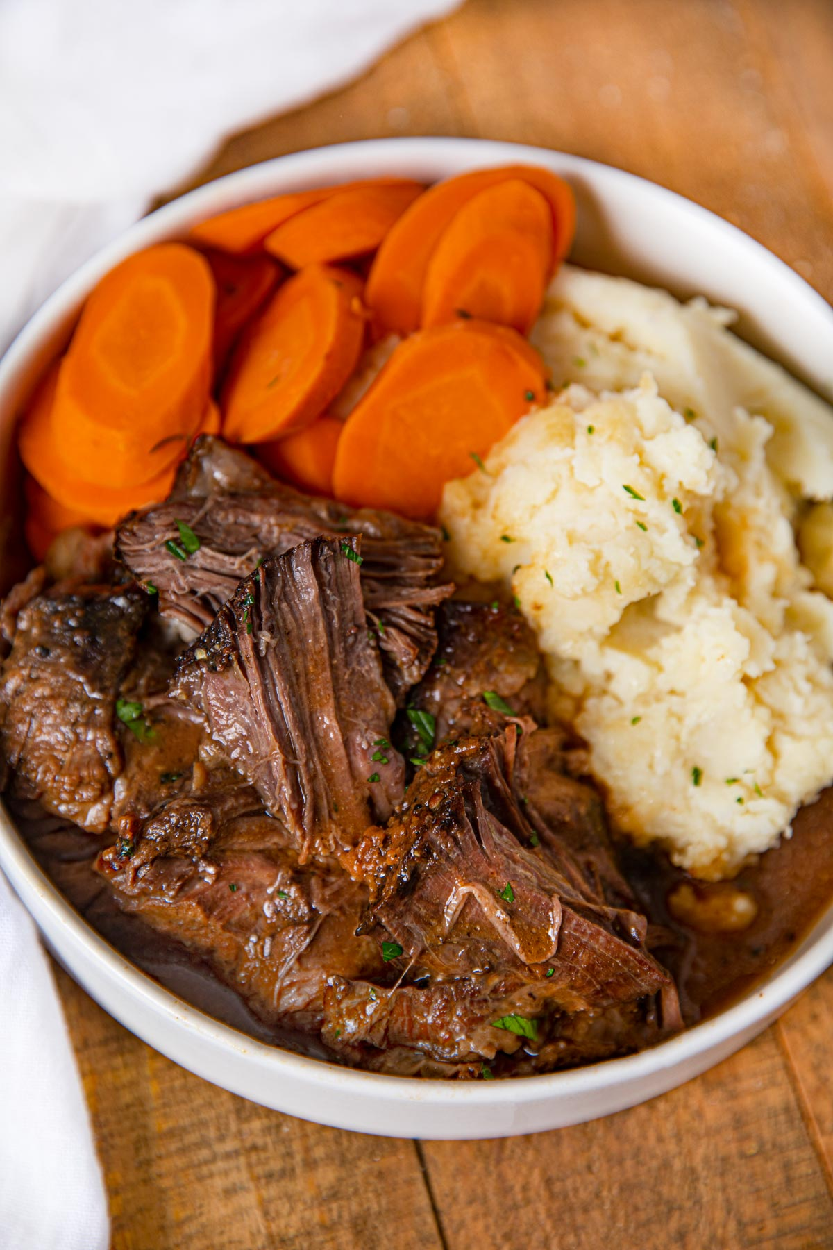 Sweet and Tangy Pot Roast with mashed potatoes