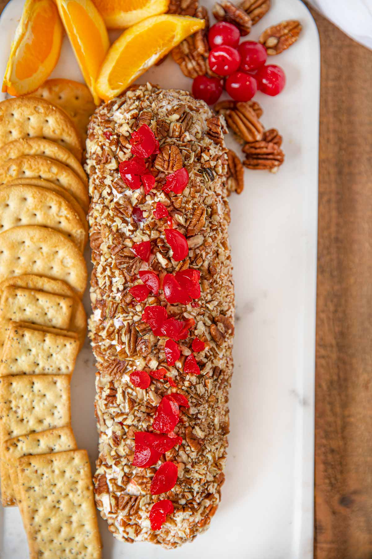 Cheese Log with Cherries and Pecans and Orange