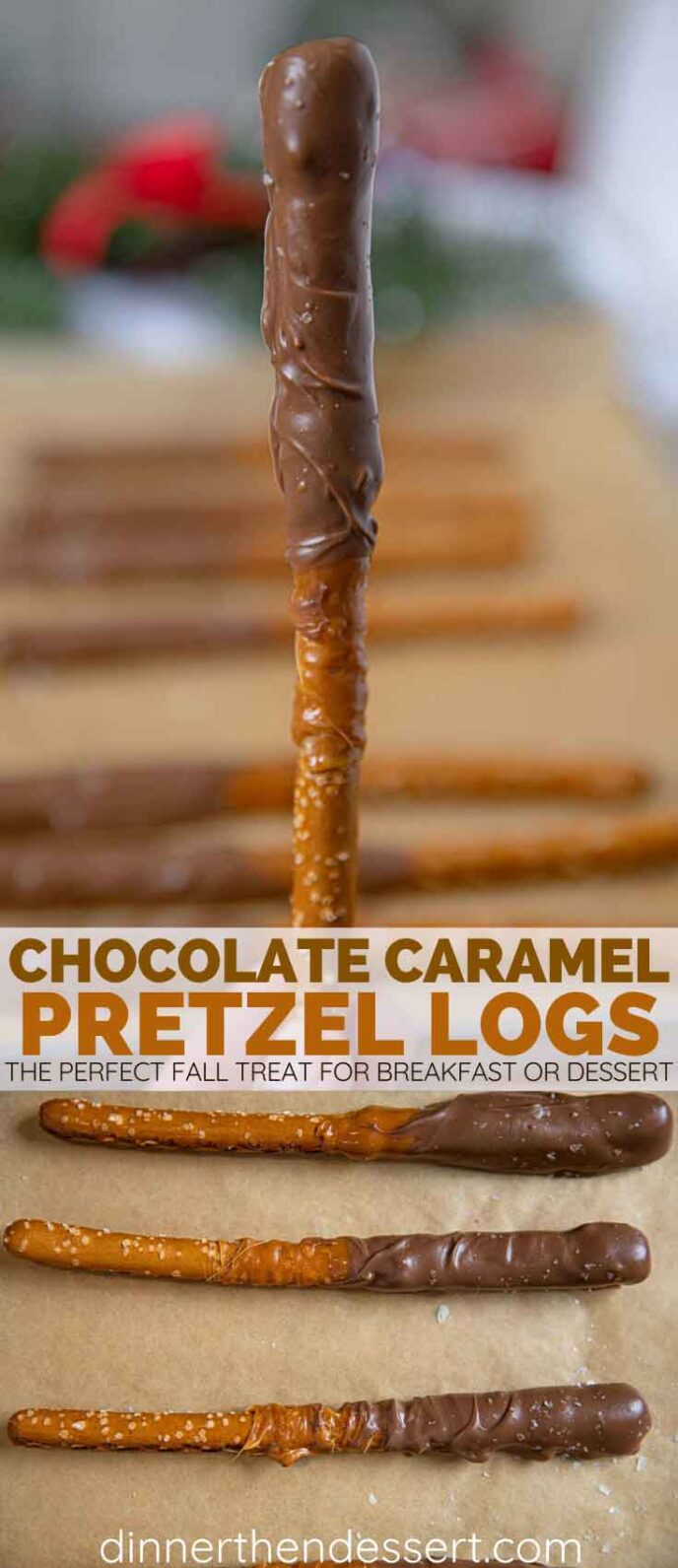 Chocolate Caramel Pretzel Logs collage