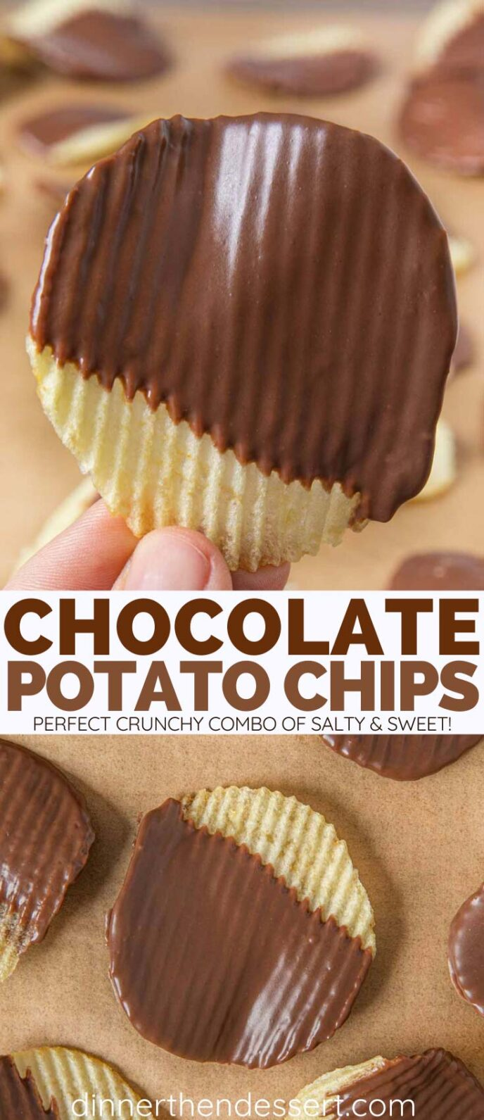 Collage of photos of Chocolate Covered Potato Chips